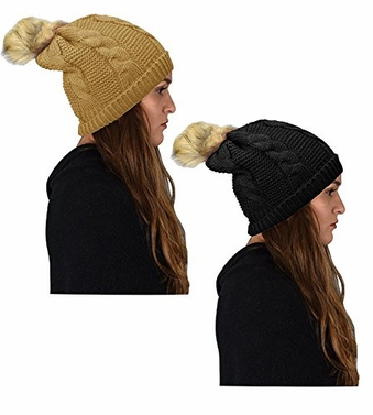 Women's Knit Crochet Folder Over Pom Pom Winter Beanie Hat (Black Gold)
