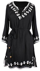 Totem Embroidered Tunic 3 Quarter Sleeves V Neck Dress Embroidered
