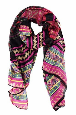 Magenta Black Aztec Tribal Print Lightweight Shawl Wrap Scarves