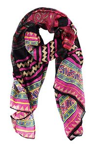 Peach Couture Women's Vibrant Aztec Tribal Print Lightweight Shawl Wrap Scarves (Magenta Black)