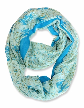 Baby Blue Aztec Tribal Elephant Colored Border Infinity Loop Wrap Scarf