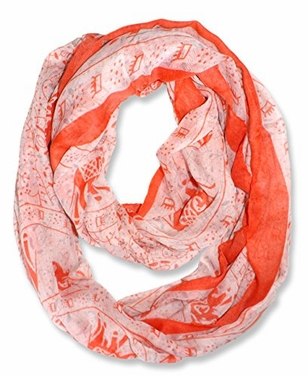 Red-Orange Aztec Tribal Colored Border Infinity Loop Wrap Scarf