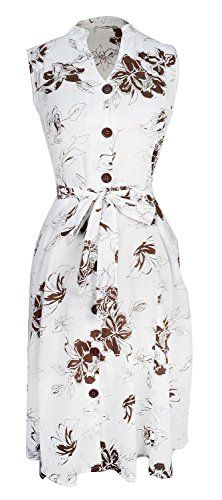 Peach Couture Women's Vintage Lightweight 100% Cotton Floral Button Up Shift Dress (XL, Brown and White)
