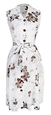Brown White Women's Vintage Lightweight 100% Cotton Floral Button Up Shift Dress (XL)