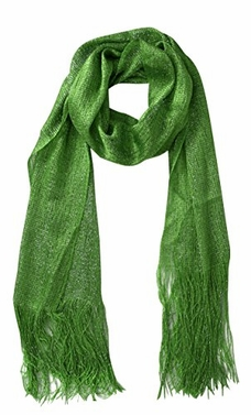 Green Women Sheer Metallic Shimmer Mesh Glitter Sparkle Scarf Shawl Wrap