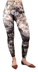 Stretch Sparkly Floral Design Vintage Leggings Tight Pants