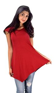 Red 100% Cotton Summer Tank Top Tunic Handkerchief Hem Shirt