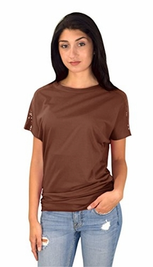 Brown Boat Neck Dolman Sleeve Side Shirring Sequin Shoulder Tops