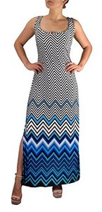 Blue Women's Boho Maxi Striped Chevron Print Scoop Neck Tank Dress