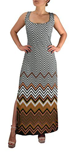 Brown Women's Boho Maxi Striped Chevron Print Scoop Neck Tank Dress