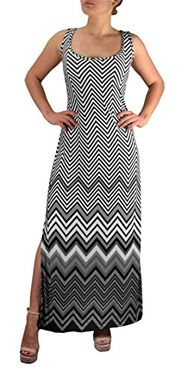 Grey Women's Boho Maxi Striped Chevron Print Scoop Neck Tank Dress