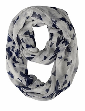 White Navy Butterfly Scarf Sheer Infinity Scarf Circle Cute Scarf Loop