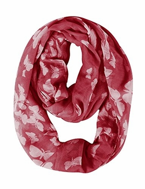 Red White Butterfly Sheer Infinity Circle Scarf Loop