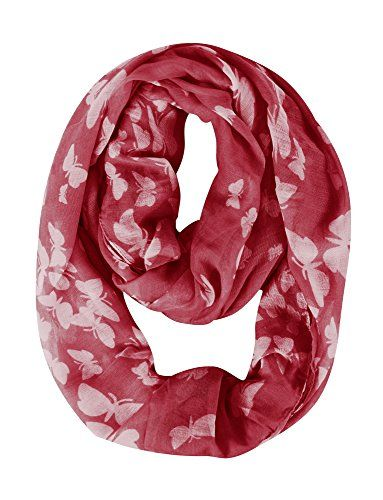 Peach Couture Womens Butterfly Scarf Sheer Infinity Scarf Circle Scarf Mothers Day gift Red White Loop