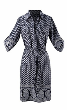 Navy Floral Buttoned Front Belted Waist Patterned Shift Dress (Medium)
