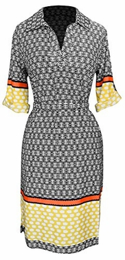 Yellow Orange Buttoned Front Belted Waist Patterned Shift Dress (Large)
