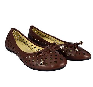 Brown Casual Shoes Crochet Bow Ballet Flats US