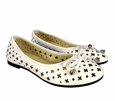 White Casual Shoes Crochet Bow Ballet Flats US