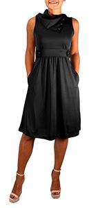 Peach Couture Womens Casual Sleeveless Classic Fold Over Collar A-Line Dress (Black XS)