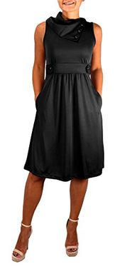 Black Womens Casual Sleeveless Classic Fold Over Collar A-Line Dress (XS)
