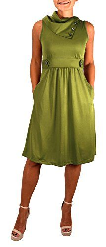 Peach Couture Womens Casual Sleeveless Classic Fold Over Collar A-Line Dress Green
