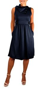 Navy Womens Casual Sleeveless Classic Fold Over Collar A-Line Dress (XS)