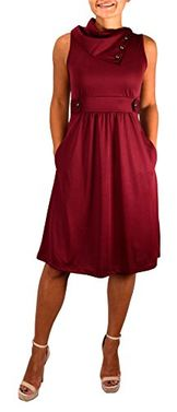 Red Womens Casual Sleeveless Classic Fold Over Collar A-Line Dress