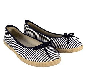 Black Casual Striped Slip On Flat Espadrilles Bow Ballet Flats Shoes