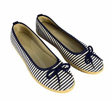 Navy Casual Striped Slip On Flat Espadrilles Bow Ballet Flats Shoes