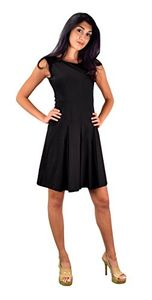 Peach Couture Womens Casual Summer Cotton Pleated Sleeveless Skater Dress Black