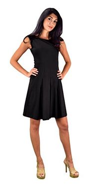 Black Casual Summer Cotton Pleated Sleeveless Skater Dress