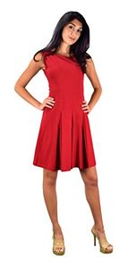 Peach Couture Womens Casual Summer Cotton Pleated Sleeveless Skater Dress Red