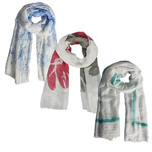 Blue Aqua Coral Womens Checkered Tie Dye Shawls Wraps Long Scarf Set