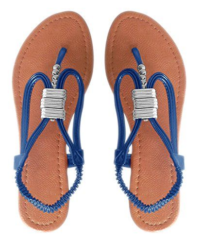 Blue Womens Chic Slingback T-Strap Beaded Strappy Sandal 1 Inch Wedge (6)