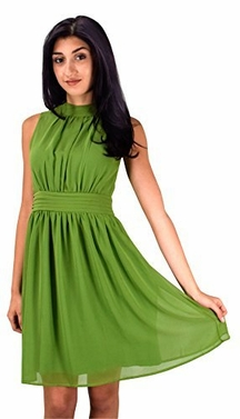 Green Chiffon Sleeveless Vintage Cocktail Fit and Flare Dress (Medium)