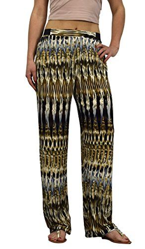 Peach Couture Womens colorful Pattern Elastic Waist Printed Palazzo Pants Abstract Brown