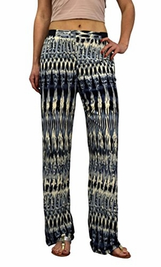 Peach Couture Womens colorful Pattern Elastic Waist Printed Palazzo Pants Abstract Grey Black
