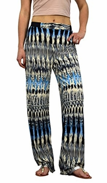 Abstract Grey Blue Womens colorful Pattern Elastic Waist Printed Palazzo Pants