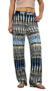 Peach Couture Womens colorful Pattern Elastic Waist Printed Palazzo Pants Abstract Grey Blue