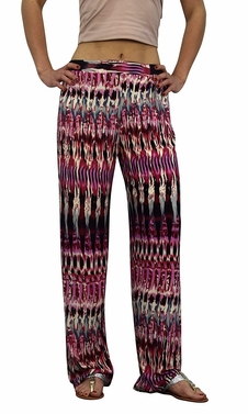 Pink Cream Colorful Pattern Elastic Waist Printed Palazzo Pants Abstract
