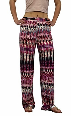 Abstract Pink Cream Womens colorful Pattern Elastic Waist Printed Palazzo Pants