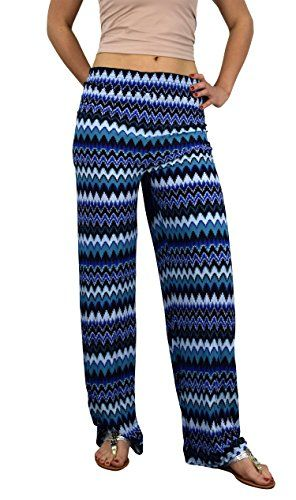 Blue Womens colorful Pattern Elastic Waist Printed Palazzo Pants Boho Chevron Small