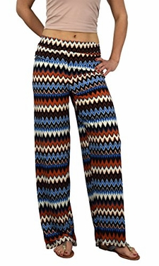 Peach Couture Womens colorful Pattern Elastic Waist Printed Palazzo Pants Boho Chevron Orange Large