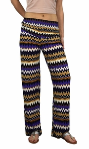 Purple Colorful Pattern Elastic Waist Printed Palazzo Pants Boho Chevron