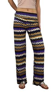 Peach Couture Womens colorful Pattern Elastic Waist Printed Palazzo Pants Boho Chevron Purple Large