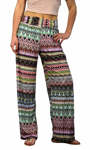 Peach Couture Womens Colorful Pattern Elastic Waist Printed Palazzo Pants Diamond Green