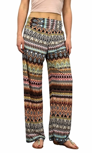 Peach Colorful Pattern Elastic Waist Printed Palazzo Pants Diamond