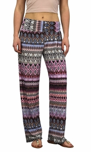 Peach Couture Womens Colorful Pattern Elastic Waist Printed Palazzo Pants Diamond Pink