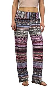 Pink Womens colorful Pattern Elastic Waist Printed Palazzo Pants Diamond Small