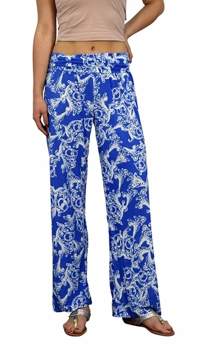 Blue Colorful Pattern Elastic Waist Printed Palazzo Pants Floral